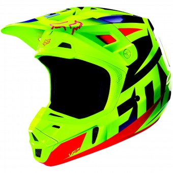 Casque Cross FOX V2 Race Blue Yellow