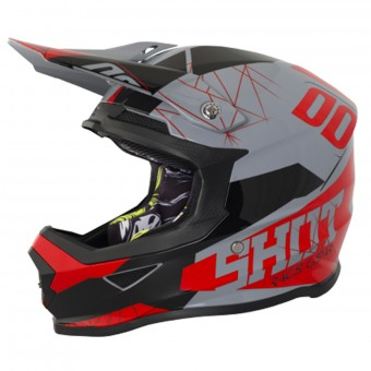 Casque Cross SHOT Furious Spectre Grey Red