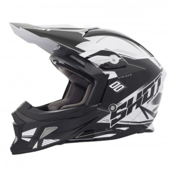 Casque Cross SHOT Striker Side Black White