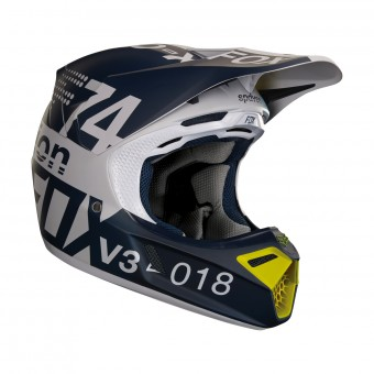 Casque Cross FOX V3 Draftr Light Grey