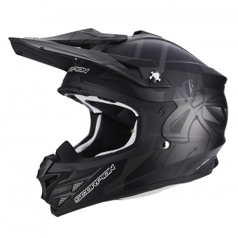 Casque Cross Scorpion VX-15 Air Robot Matt Black Silver