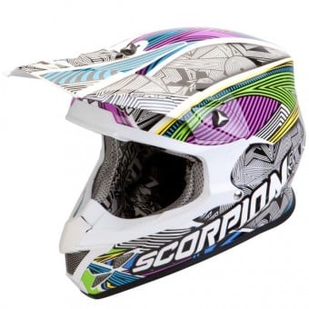 Casque Cross Scorpion VX-20 Air Geo Blanc Noir Multi
