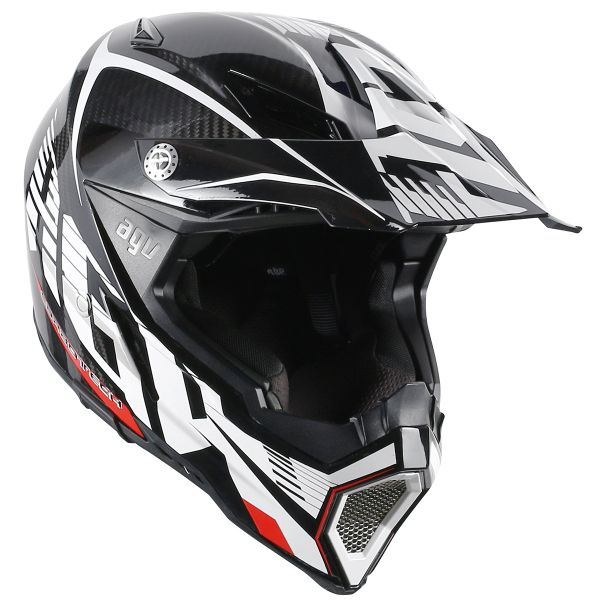 Casque Cross AGV AX-8 Carbon Carbotech White Red