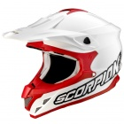 Casque Cross Scorpion VX-15 Air Solid Blanc Rouge