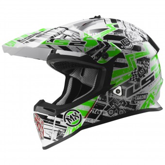 Casque Cross LS2 Fast Glitch White Black Green MX437