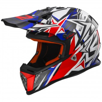 Casque Cross LS2 Fast Strong White Blue Red MX437