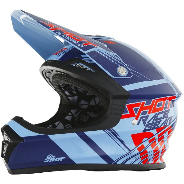 Casque Cross SHOT Furious Claw Blue Red