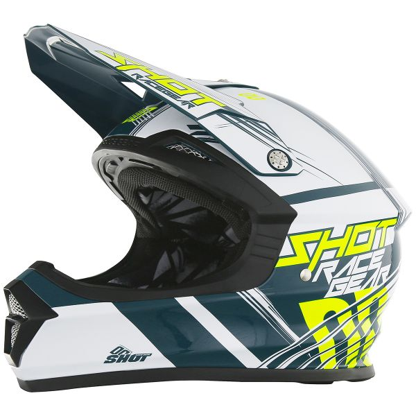 Casque Cross SHOT Furious Claw Teal Blue Neon Yellow