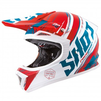 Casque Cross SHOT Furious Genesis Red Turquoise