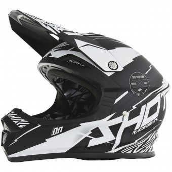 Casque Cross SHOT Furious Infinity Black White Matt