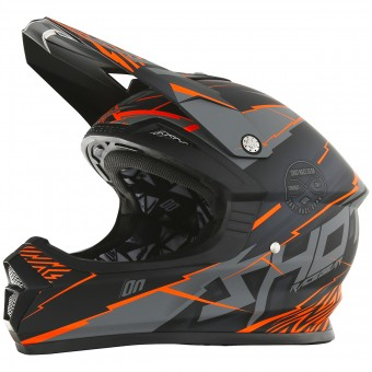 Casque Cross SHOT Furious Infinity Neon Orange Grey Matt