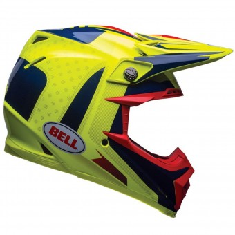 Casque Cross Bell Moto-9 Flex Carbon Vice Blue Yellow