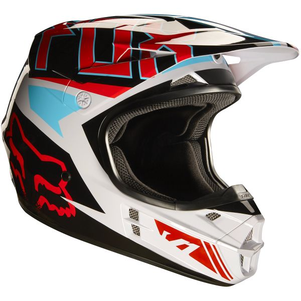 Casque Cross FOX V1 Falcon Grey Red 037