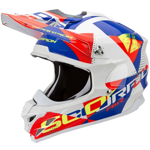 Casque Cross Scorpion VX-15 Evo Air Akra White Red Blue