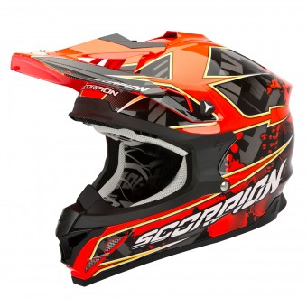 Casque Cross Scorpion VX-15 Evo Air Magma Rouge Fluo