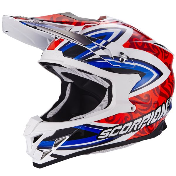 Casque Cross Scorpion VX-15 Evo Air Revenge White Red Blue