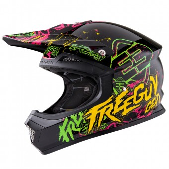 Casque Cross Freegun XP-4 Overload Green Orange
