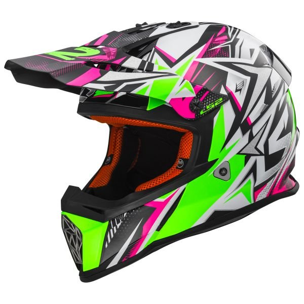 Casque Enfant LS2 Fast Mini Strong White Green Pink MX437J