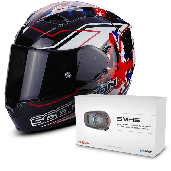 Casque Integral Scorpion EXO 1200 Air Alto Black White Red + Kit Bluetooth Sena SMH5