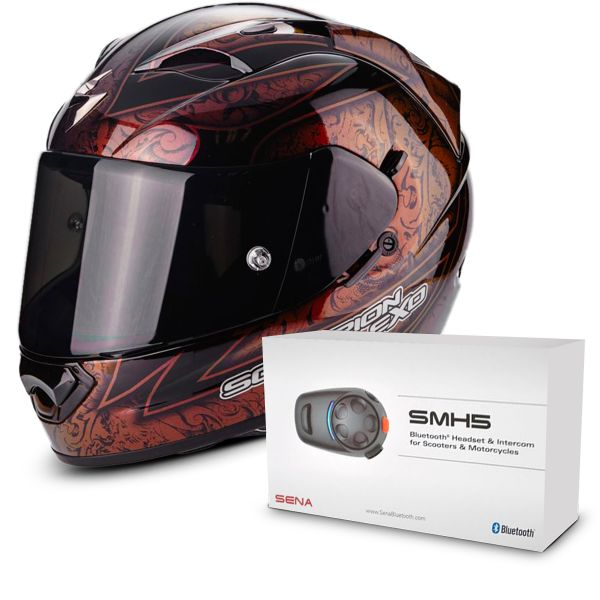 Casque Integral Scorpion EXO 1200 Air Fantasy Black Red Chameleon + Kit Bluetooth Sena SMH5