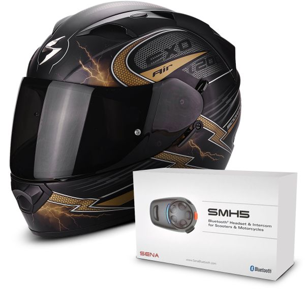 Casque Integral Scorpion EXO 1200 Air Fulgur Matt Black Gold + Kit Bluetooth Sena SMH5