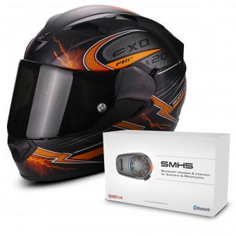 Casque Integral Scorpion EXO 1200 Air Fulgur Matt Black Orange + Kit Bluetooth Sena SMH5