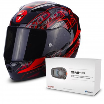 Casque Integral Scorpion EXO 1200 Air Solis Black Red + Kit Bluetooth Sena SMH5