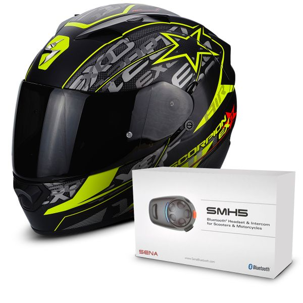 Casque Integral Scorpion EXO 1200 Air Solis Matt Black Neon Yellow + Kit Bluetooth Sena SMH5