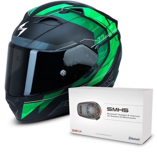 Casque Integral Scorpion Exo 1200 Air Hornet Matt Green + Kit Bluetooth Sena SMH5