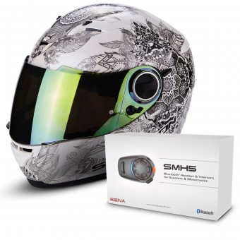 Casque Integral Scorpion Exo 490 Dream White Chameleon + Kit Bluetooth Sena SMH5