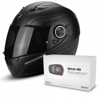Casque Integral Scorpion Exo 490 Luz Matt Black Neon Silver + Kit Bluetooth Sena SMH5