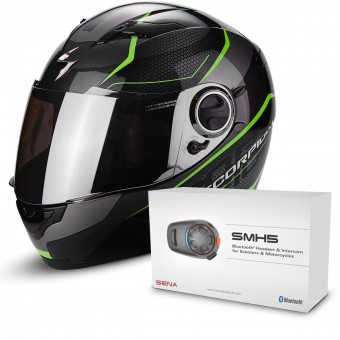 Casque Integral Scorpion Exo 490 Vision Black Green + Kit Bluetooth Sena SMH5