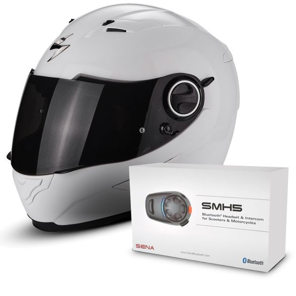Casque Integral Scorpion Exo 490 White + Kit Bluetooth Sena SMH5