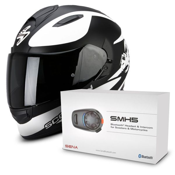 Casque Integral Scorpion Exo 510 Air Sublim Matt Black White + Kit Bluetooth Sena SMH5 Solo