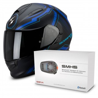 Casque Integral Scorpion Exo 510 Air Sync Matte Black Blue + Kit Bluetooth Sena SMH5 Solo
