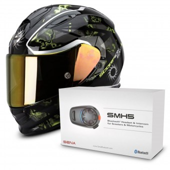 Casque Integral Scorpion Exo 510 Air Xena Black Neon Yellow + Kit Bluetooth Sena SMH5 Solo