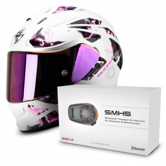 Casque Integral Scorpion Exo 510 Air Xena Pearl White Pink + Kit Bluetooth Sena SMH5 Solo