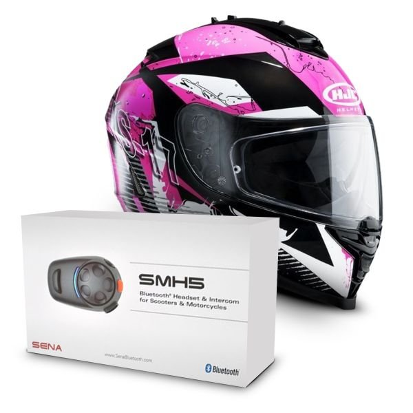 Casque Integral HJC IS17 Pink Rocket MC8 + Kit Bluetooth Sena SMH5 Solo