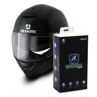 Casque Integral Shark Skwal Blank BLK + Kit Bluetooth Sharktooth