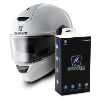 Casque Integral Shark Skwal Blank WHU + Kit Bluetoooth Sharktooth