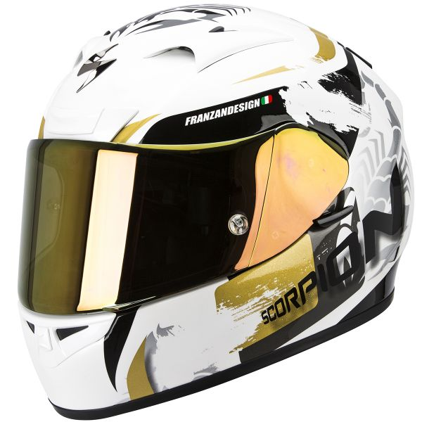 Casque Integral Scorpion EXO 710 Air Cerberus Pearl White Gold