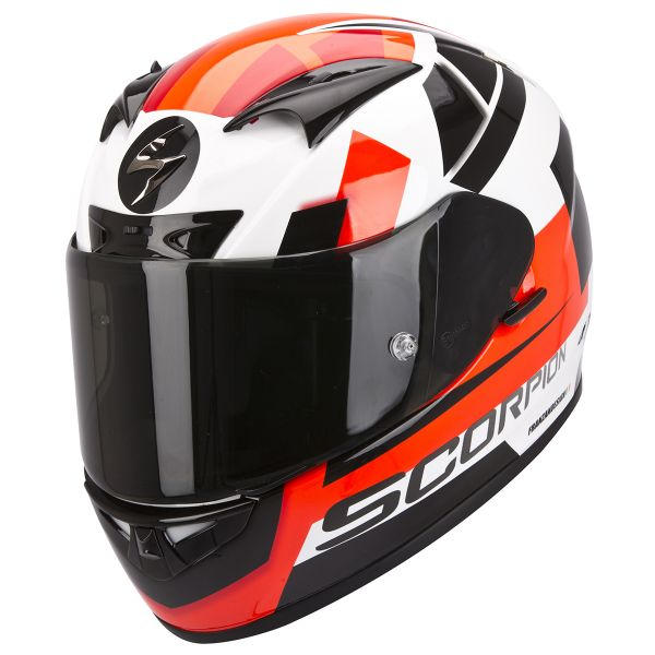 Casque Integral Scorpion EXO 710 Air Square Blanc Rouge