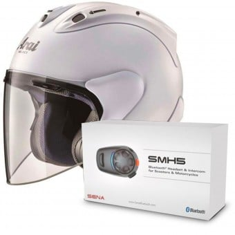 Casque Jet Arai SZ-RAM X Diamond White + Kit Bluetooth Sena SMH5 Solo