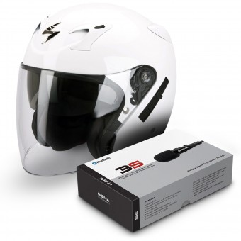 Casque Jet Scorpion EXO 220 Blanc + Kit Bluetooth Sena 3S