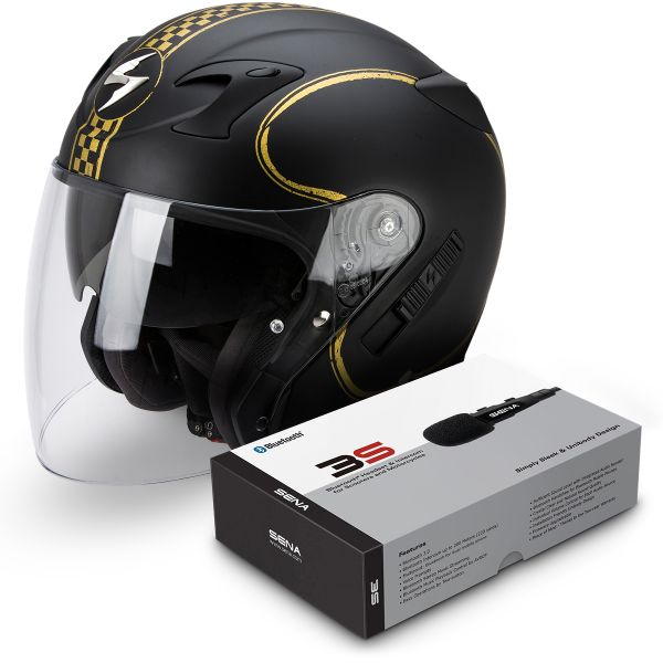 Casque Jet Scorpion Exo 220 Bixby Matte Black Gold + Kit Bluetooth Sena 3S