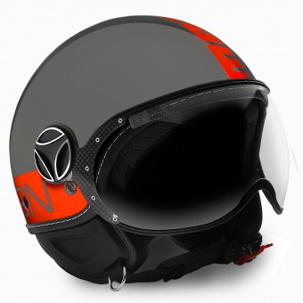 Casque Jet Momo Design FGTR Grey Orange Fluo