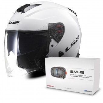 Casque Jet LS2 Infinity White OF521 + Kit Bluetooth Sena SMH5