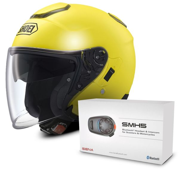 Casque Jet Shoei J-Cruise Jaune Fluo + Kit Bluetooth Sena SMH5