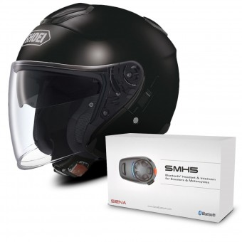 Casque Jet Shoei J-Cruise Noir + Kit Bluetooth Sena SMH5