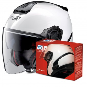Casque Jet Nolan N40 5 Special N-Com White 15 + Kit Bluetooth B1.4